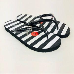 Michael Kors Eva PVC Thong Flip Flop 6 Black White